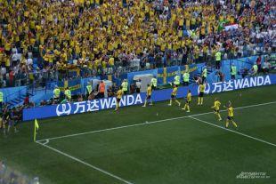 Игроки сборной Швеции и болельщики праздную победу.