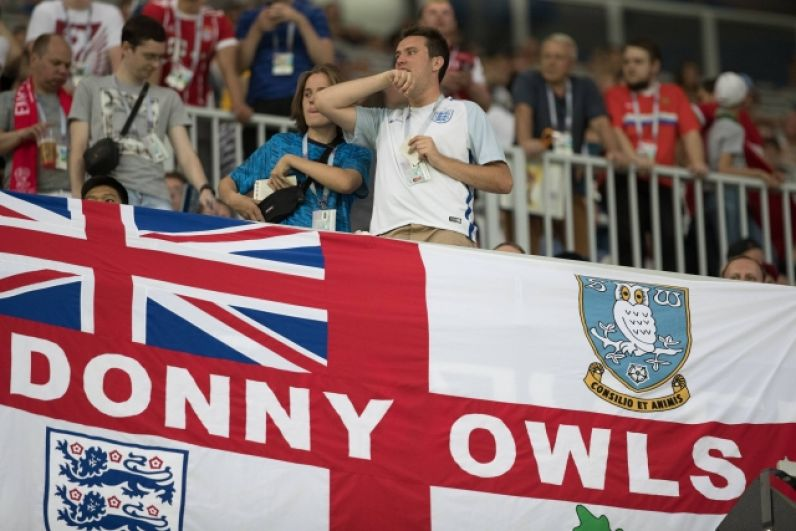 Трибуна английских фанатов.