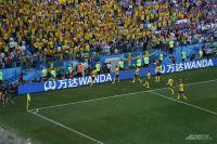 Игроки сборной Швеции и болельщики празднуют победу.