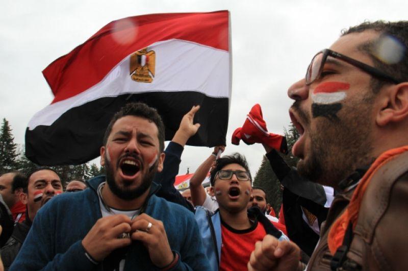 На матч в Петербург приехало много болельщиков из Египта.
