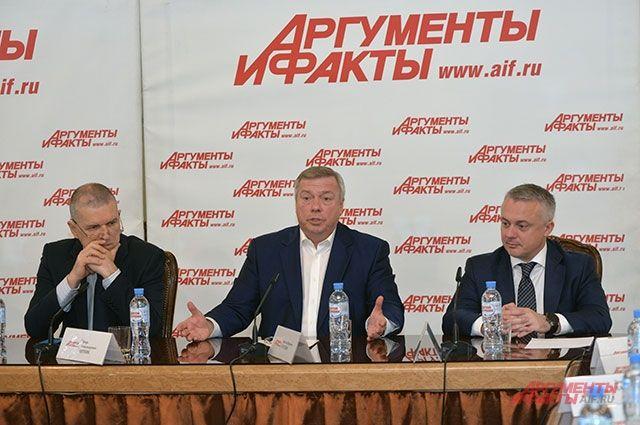 Вопросы были прямые, ответы были честные. На фото (слева направо): главный редактор Игорь Черняк, губернатор Василий Голубев и генеральный директор Руслан Новиков.