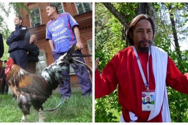 Француз Клеман Томашевски с уральским родственником своего знаменитого петуха и болельщик в образе «Иисуса любящего Перу».