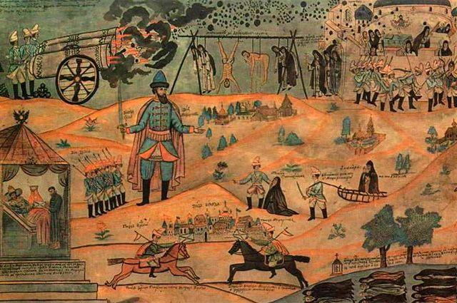 Воевода Мещеринов подавляет Соловецкое восстание. Лубок XIX века.