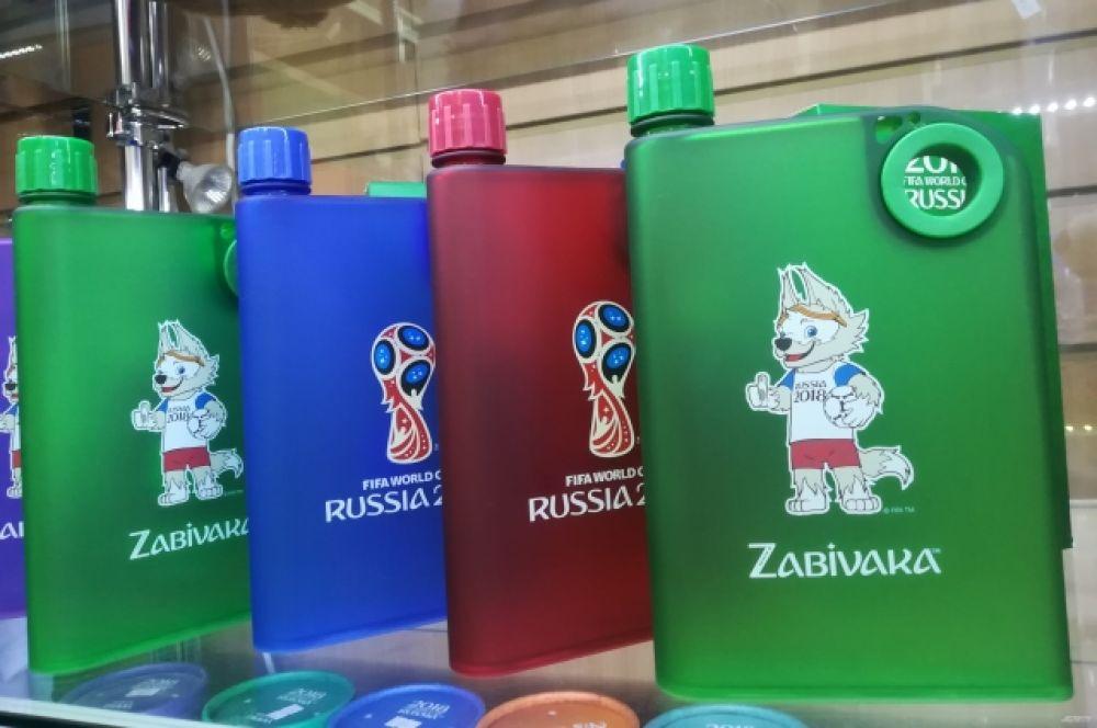 Фляги для алкоголя с символикой ЧМ по футболу. Стоимость - от 800 рублей.