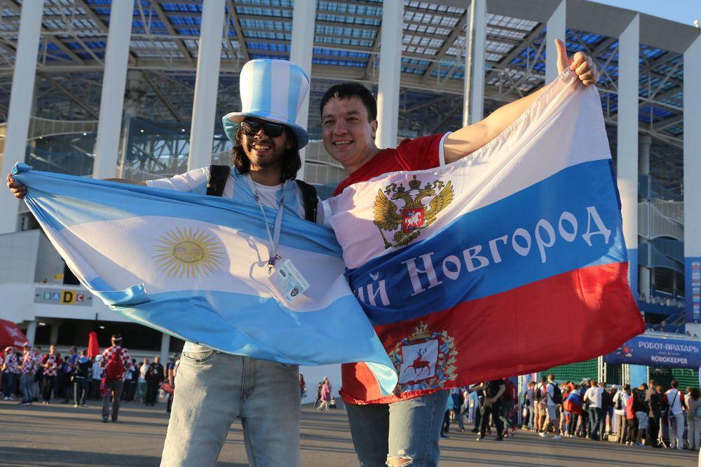 Многие российские болельщики поддержали аргентинцев.