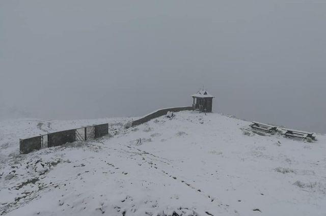 Зима среди лета: в Карпатах выпал снег, слой достиг нескольких сантиметров