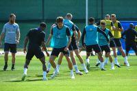 Игроки сборной Англии по футболу на тренировке перед матчем группового этапа чемпионата мира по футболу против сборной Панамы на стадионе «Спартак» в Зеленогорске.