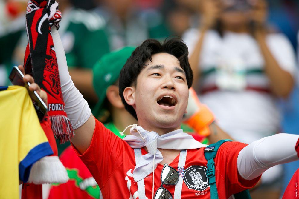 Корейский фанат радуется голу, который его команда забила в последние минуты матча.