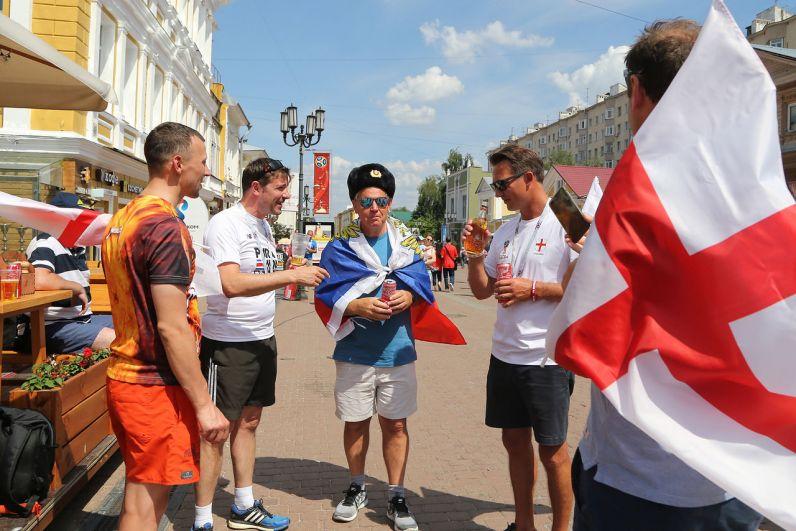 Болельщики на улицах Нижнего Новгорода
