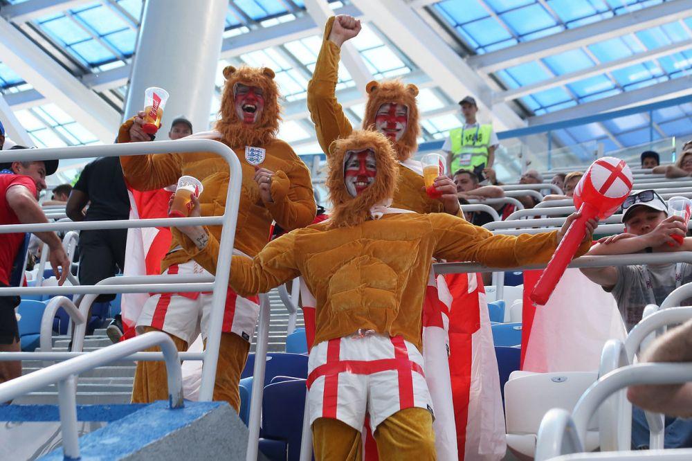 В 30-градусную жару англичане оделись в костюмы львов