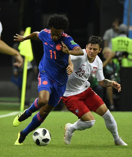 Колумбиец Куадрадо забивает третий гол на 75-й минуте матча.