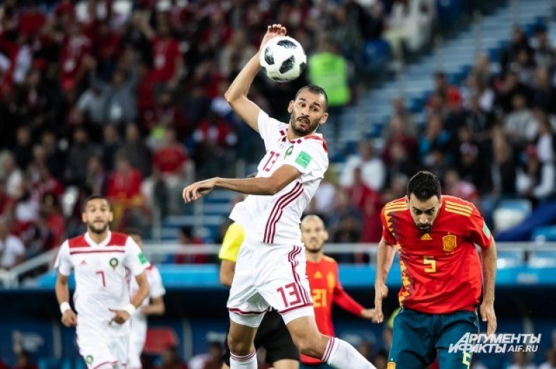 Матч сборной Испании-Марокко.