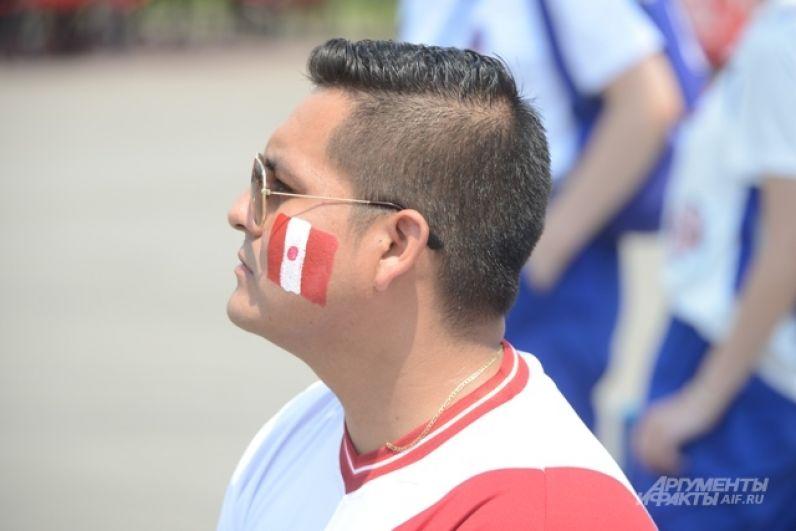 Болельщик с флагом Перу, нарисованным на щеке.