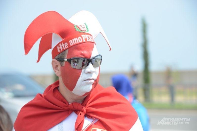 Практически каждый болельщик из Перу взял с собой национальный флаг.