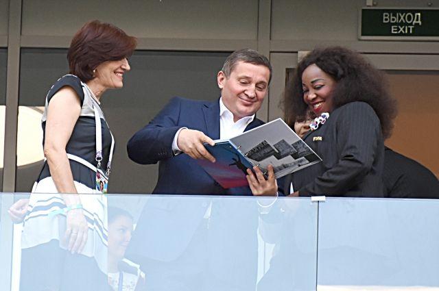 Андрей Бочаров и Генеральный секретарь ФИФА Фатма Самура на «Волгоград Арене».