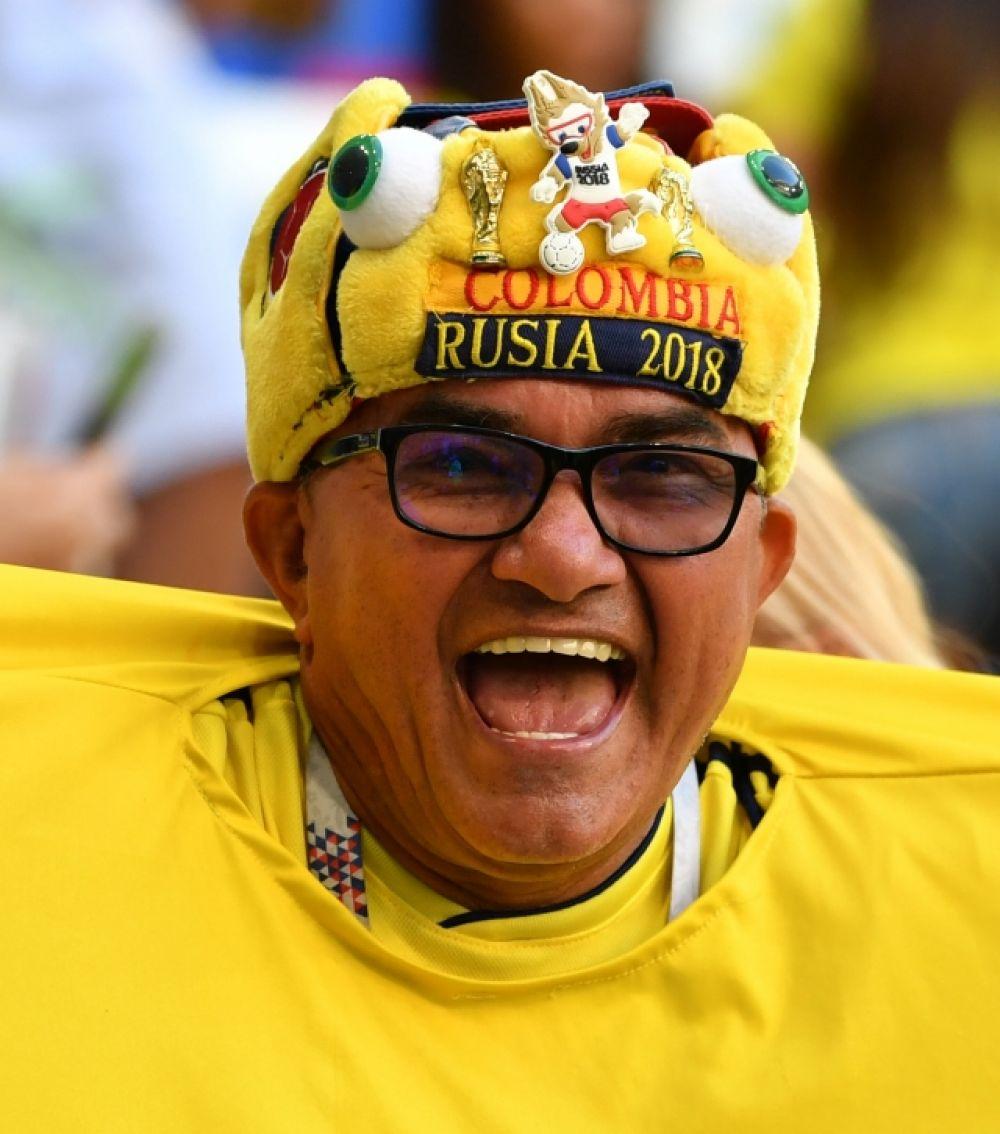 Традиционно колумбийские болельщики ярко выделяются на стадионе.