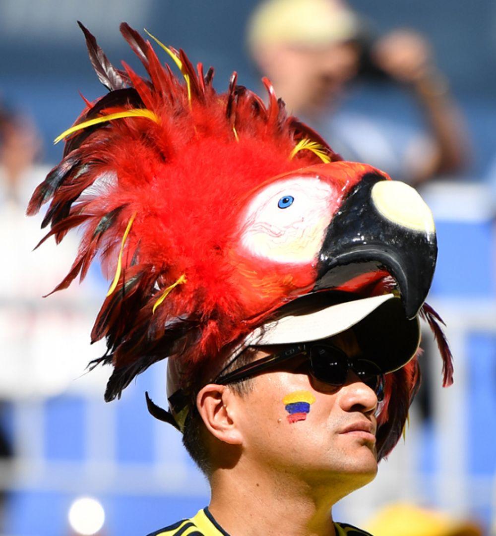 Колумбийский болельщик перед матчем сборными Колумбии и Сенегала в Самаре.
