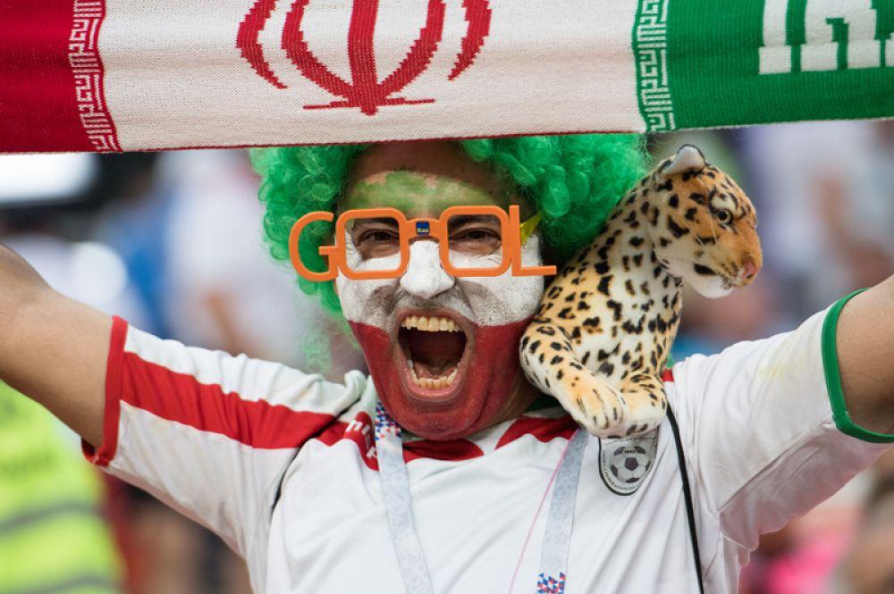 Иранский фанат во время матча с Португалией в Саранске.
