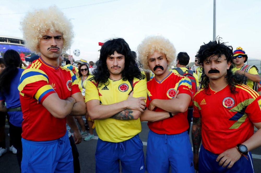 Колумбийские болельщики перед матчем с Польшей на стадионе в Казани.