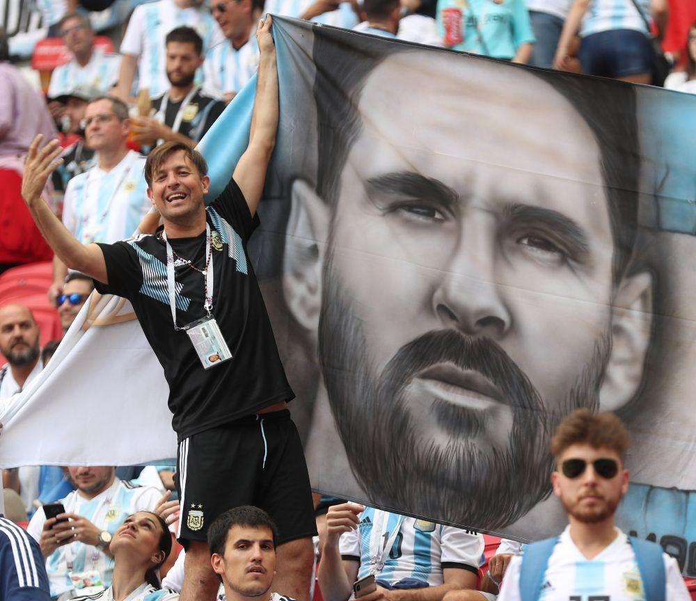 Огромный портрет Месси на аргентинской трибуне.