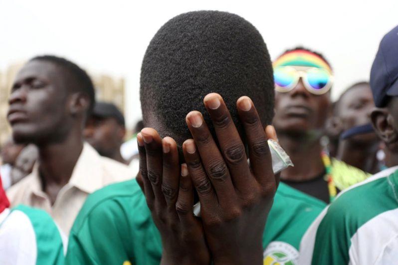 Болельщик из Сенегала после матча с Колумбией.