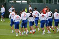 Игроки сборной России на тренировке перед матчем 1/4 финала чемпионата мира по футболу против сборной Хорватии.