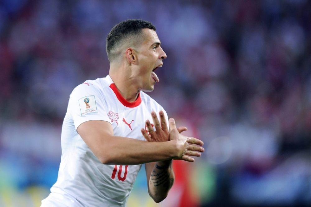 Гранит Джака и его скандальный жест, изображающий косоварского орла, из-за которого ФИФА даже проводила проверку.