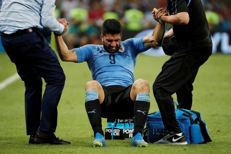 Луис Суарес (Уругвай) во время матча против сборной Португалии.