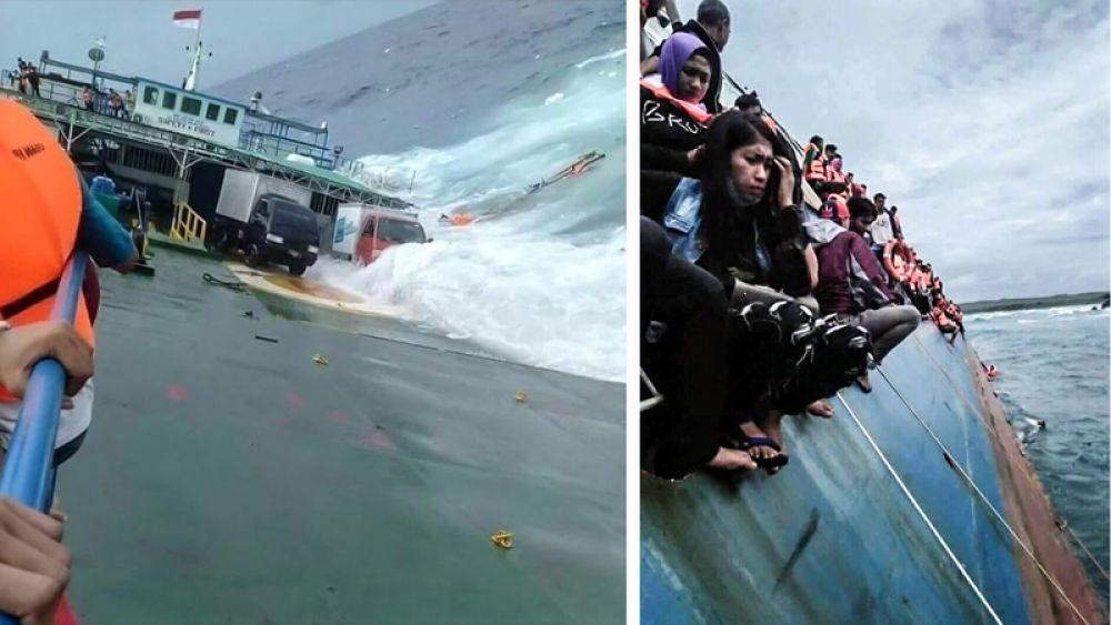 Пассажирский паром, терпящий крушение у берегов острова Сулавеси, Индонезия.