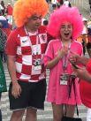 А вот китайские гости разделились на два лагеря, эти - за сборную Хорватии.