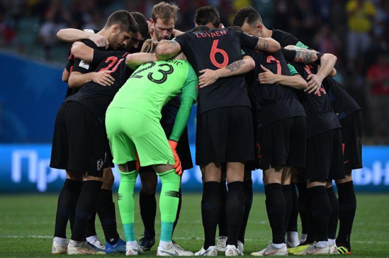 Хорваты перед началом второго тайма.