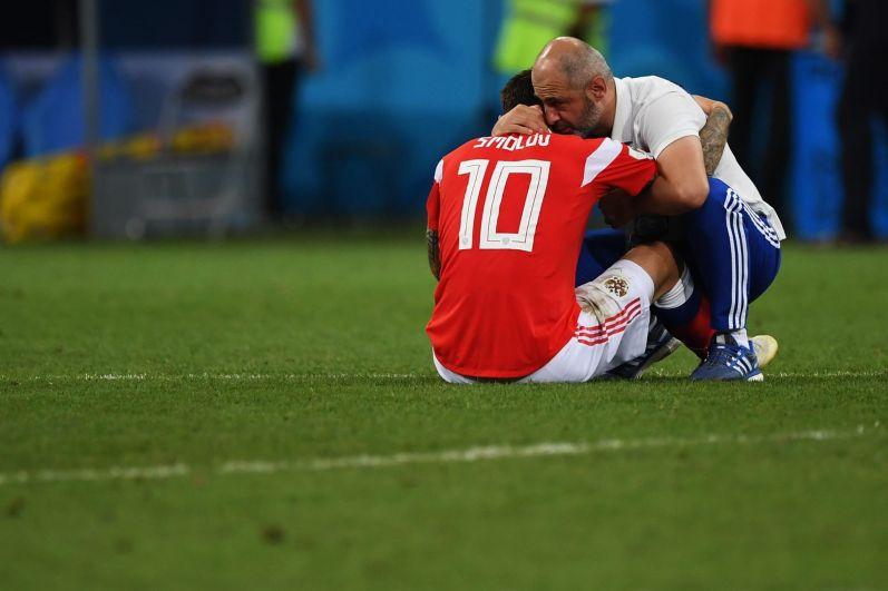 Федор Смолов после матча 1/4 финала чемпионата мира по футболу между сборными России и Хорватии.