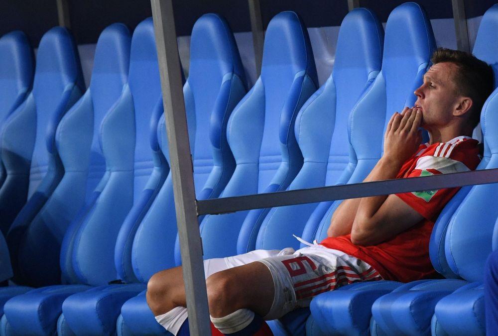 Денис Черышев после поражения в матче 1/4 финала чемпионата мира по футболу между сборными России и Хорватии.