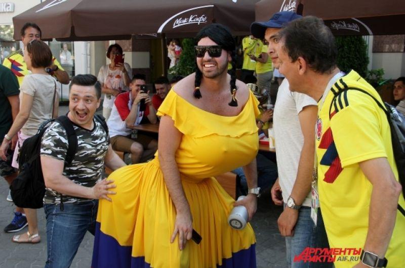 Колумбийские болельщики на улицах Казани.