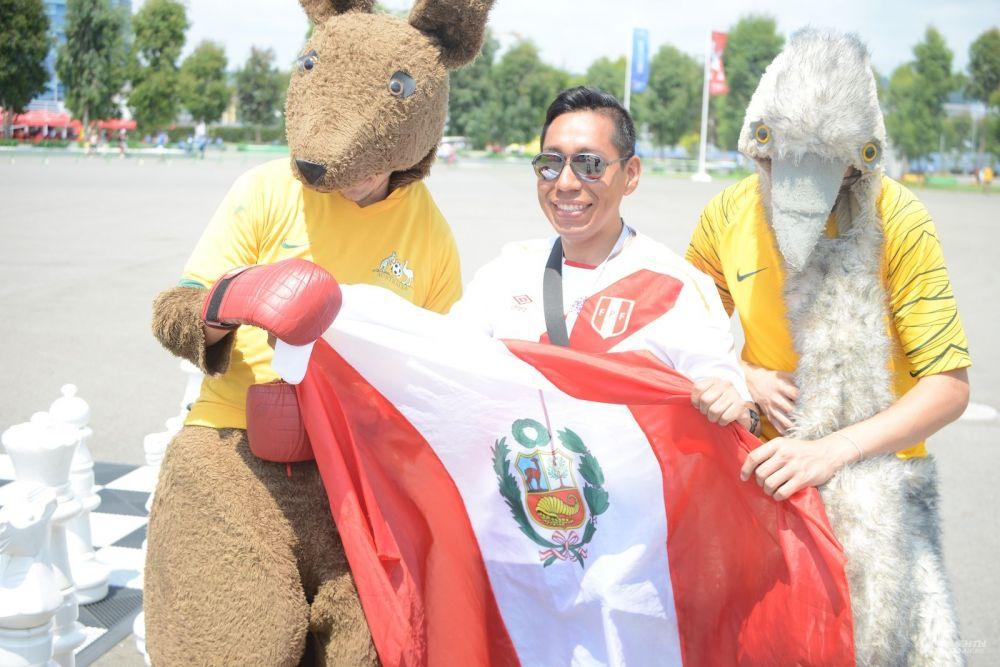 Австралийские болельщики на снимали костюмы кенгуру и эму, несмотря на жару в 40 градусов.