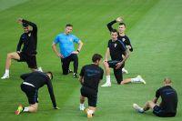 Тренировка сборной Хорватии по футболу перед матчем с Англией.