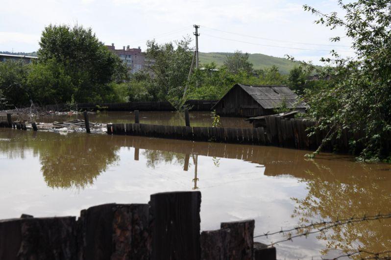 Частный дом на улице Лазо, затопленный в результате притока воды в реке Читинка.