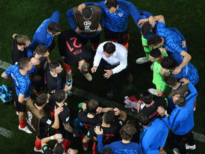 Игроки сборной Хорватии в полуфинальном матче чемпионата мира по футболу между сборными Хорватии и Англии.