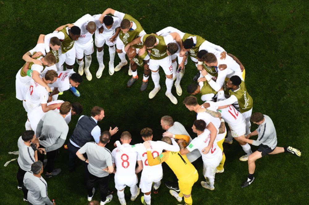 Игроки сборной Англии в полуфинальном матче чемпионата мира по футболу между сборными Хорватии и Англии.