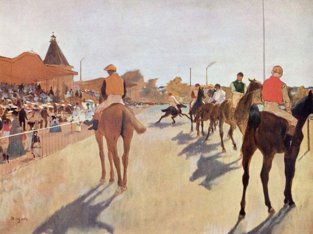 Скаковые лошади перед трибунами. 1869-1872 годы. На протяжении нескольких лет портрет оставался одним из основных увлечений Дега, иногда чередуясь с историческими полотнами. Однако уже в начале 1860-х годов Дега вновь заинтересовался сценами из современной жизни, в первую очередь скачками.