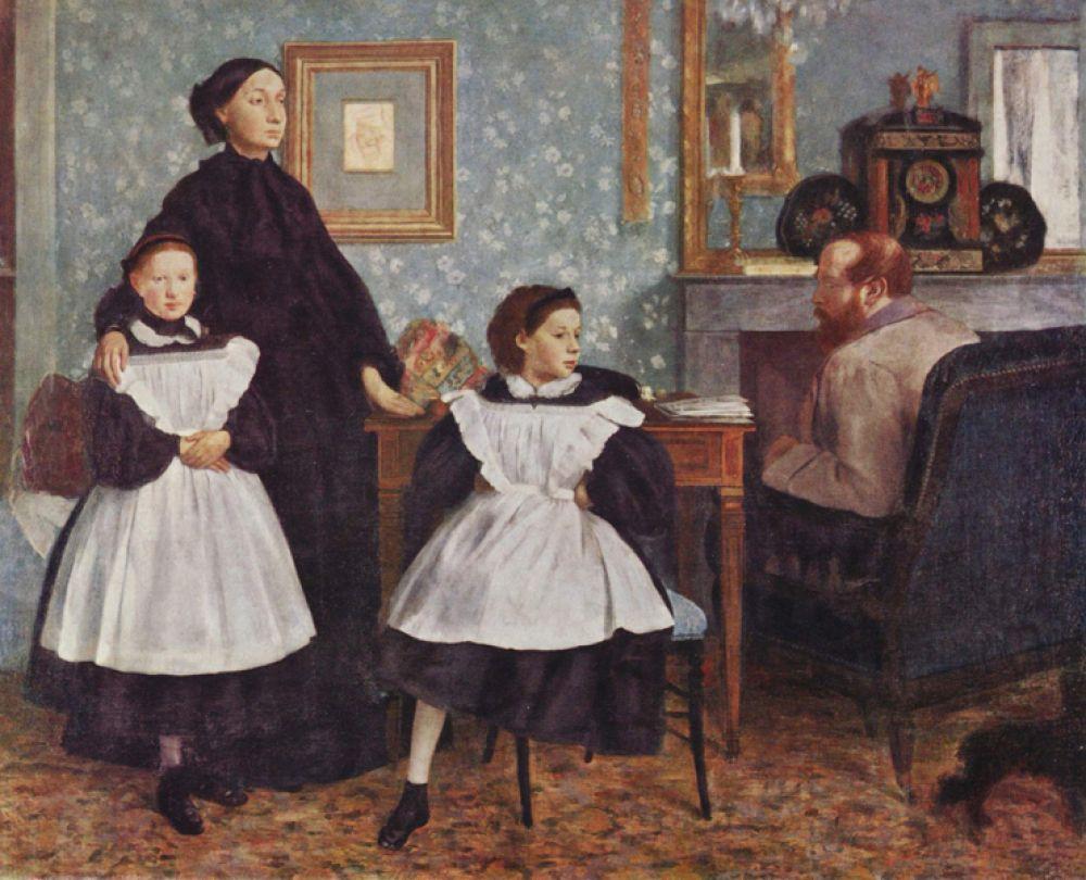 Семейство Беллели. 1860-1862 годы. На рубеже 60-х годов XIX века Эдгар Дега открывает собственную мастерскую в Париже. Основой его творчества в то время являлась портретная живопись. Эту картину художник начал писать в 1858 году, когда находился в гостях у своих родственников во Флоренции.