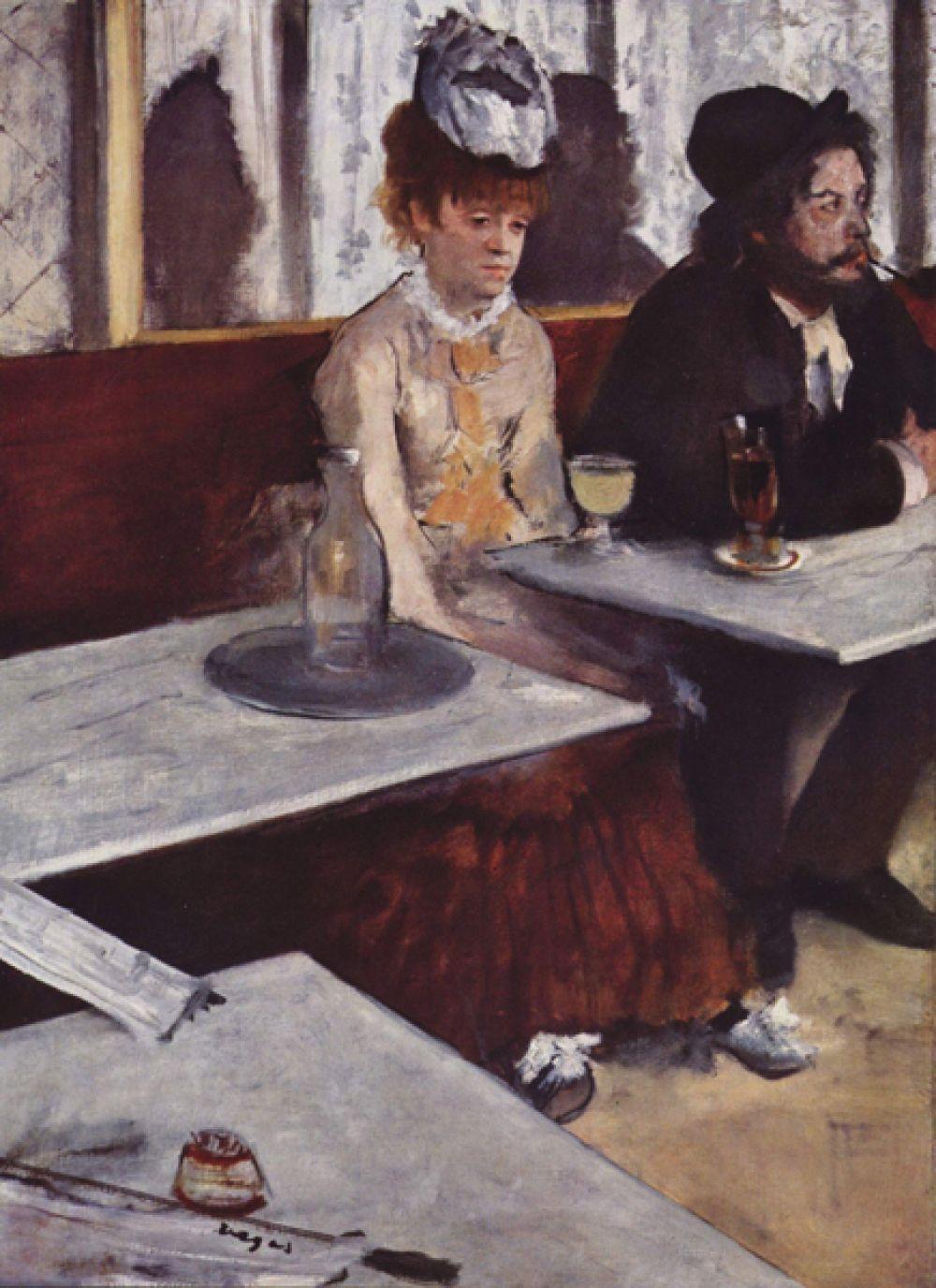 Абсент. 1876 год. На этой картине Дега изобразил художника Марселена Дебутена и звезду кабаре Эллен Андре за столиком в кафе. Актриса была известна своим элегантным стилем одежды, однако, художник изобразил ее как простую женщину со своими пороками. Из-за этого картина была негативно оценена критиками, посчитавшими ее отвратительной, после чего она долгое время не демонстрировалась.