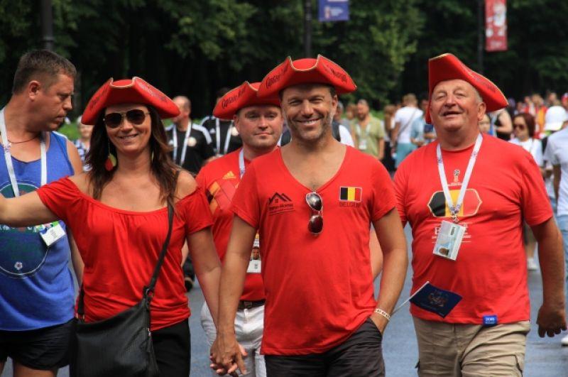 Бельгийцы пришли на стадион в приподнятом настроении.