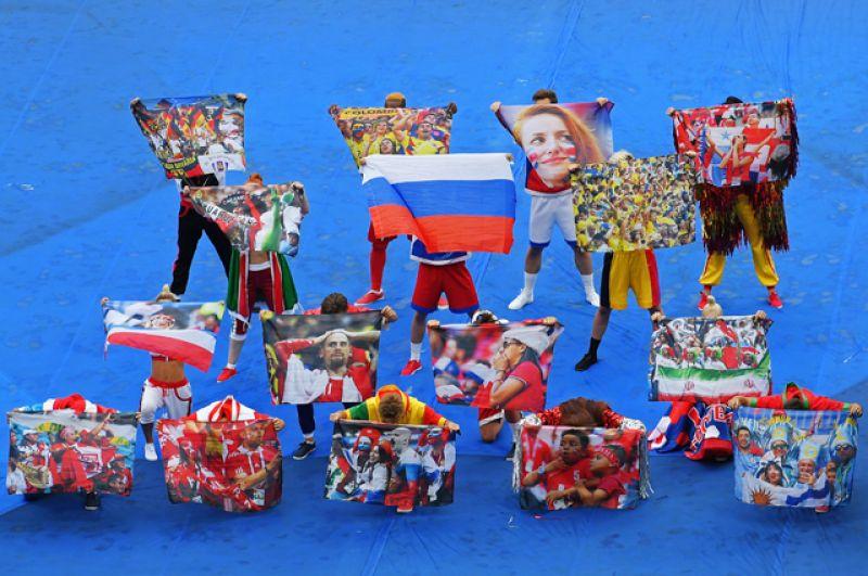 Артисты нацеремонии закрытия ЧМ-2018 пофутболу настадионе «Лужники» вМоскве.