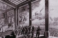 Эксгумация Петра III. Аллегорическая гравюра Николая Анселена.
