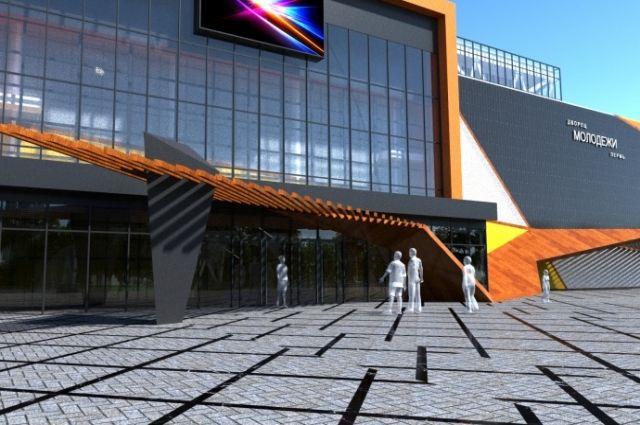 На фасаде будут изображены геометрические фигуры оранжевого, жёлтого, серого и чёрного цветов.