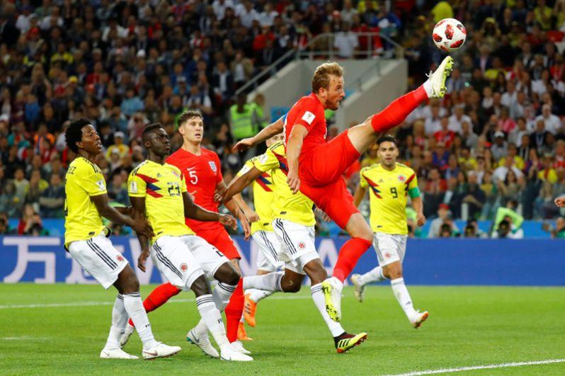 Англичанин Гарри Кейн во время матча против сборной Колумбии на стадионе «Спартак» в Москве.