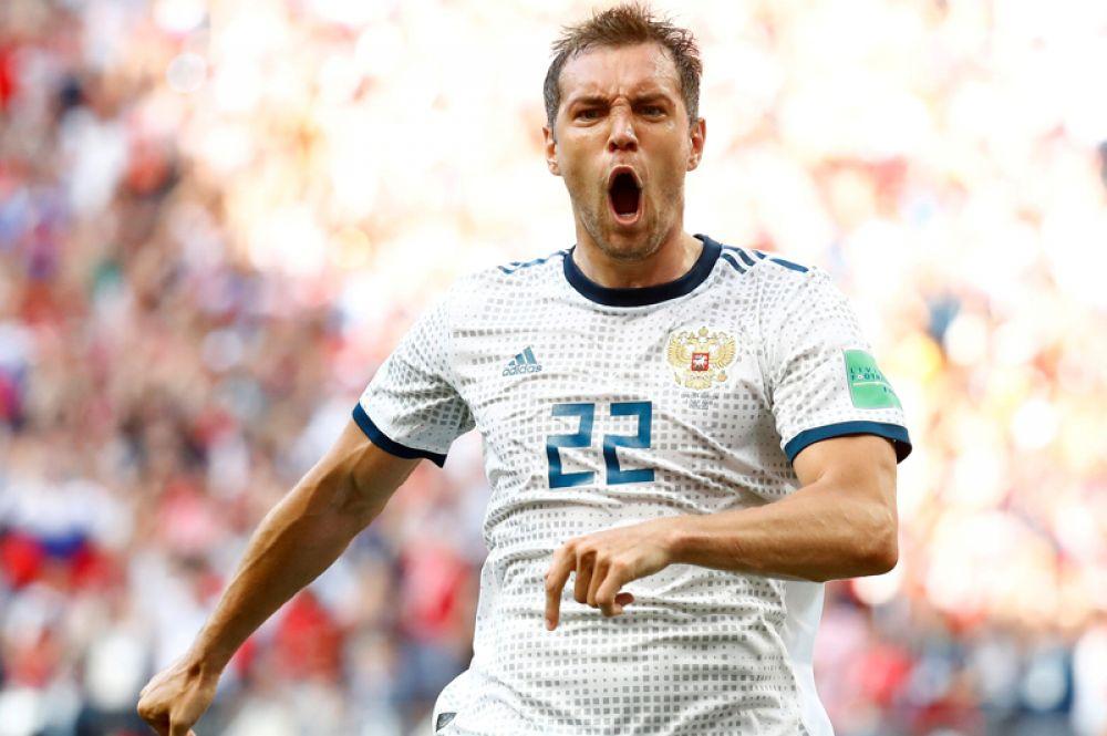Россиянин Артем Дзюба, забивший гол в ворота Испании, на стадионе «Лужники» в Москве.
