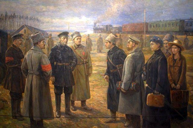 «Передача семьи Романовых Уралсовету». Художник В. Н. Пчелин. 1927 год.