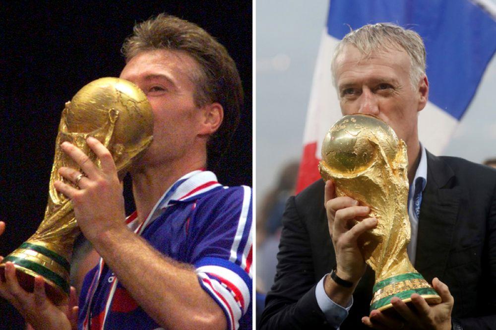 Дидье Дешам с кубком чемпионата мира по футболу: как капитан сборной Франции 1998 года (слева) и как тренер сборной Франции 2018 года (справа).